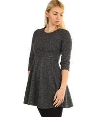 YooY Úpletové dámké šaty áčkového střihu (tmavě šedá c9e903fd5c