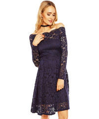 ae6fe341340 MAYAADI Dámské krajkové šaty s dlouhým rukávem a lodičkovým výstřihem tmavě  modré