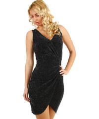 Glara Krátke trblietavé šaty so zavinovacím efektom 10f55af6a70