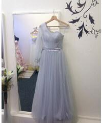 Marizu fashion krásné šedo stříbrné společenské tylové šaty s rukávkem 96f7d132fe