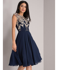 Chi Chi London Prom Dress With Applique Detail Blue
