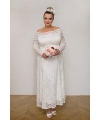 d40764bd860c Bellazu Dlouhé svatební krajkové šaty Nuri s průsvitnými rukávy