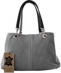 Kožená menší šedá taška na rameno lil two VERA PELLE 21978 3bb23eff6c6