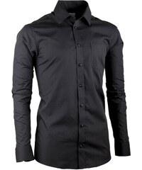 Černá pánská košile dlouhý rukáv slim fit Aramgad 30180 ead03ebeab