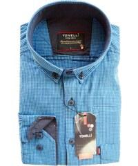 ca62f8169480 Nadměrná košile pánská rovný střih modrá Tonelli 110915