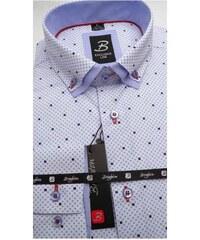 Bílá pánská košile dlouhý rukáv vypasovaný střih Brighton 109963 6237d3b61d