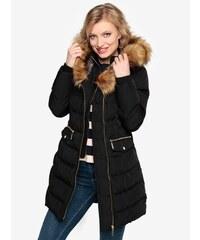 Čierny prešívaný zimný kabát s kapucňou a umelým kožúškom Oasis Etna 5542381a09f