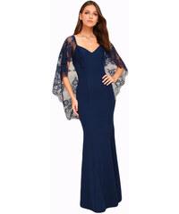 NoName 02 Společenské šaty dlouhé s krajkovými rukávy modré 506098b084