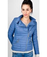 BASIC Dámska prešívaná modrá bunda so zipsami (D009) 5509552a8d5