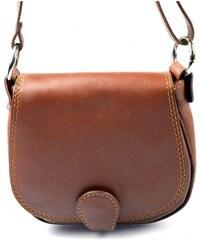 kožená menší hnědá brown crossbody kabelka na rameno Lundy VERA PELLE 34054 3b754978575
