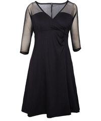 06a47962a04 NoName Černé šaty pro plnoštíhlé s průsvitnými rameny XXL