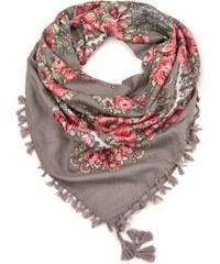 Art of Polo Folkový šátek s květy hnědý d82de4d2c4