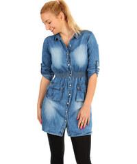 9ca8d1e24e61 Glara Krátke riflové šaty s trojštvrťovými rukávmi