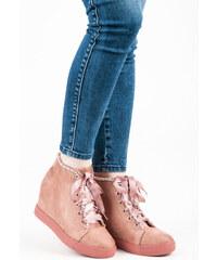 1436120c54 SEASTAR Pěkné růžové kotníkové tenisky se saténovou stužkou
