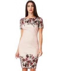 fb4152b27a9c Dámské šaty s květy tělové CityGoddess DR1305