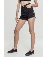 3b24e4f1c508 Dámske riflové kraťasy URBAN CLASSICS Ladies Highwaist Denim Lace Up Shorts  black