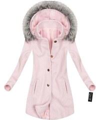 MADE IN ITALY Dámský zimní kabát růžový (64ART) b101f0a924c