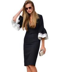 NoName 02 Dámské šaty bodycon černé s bílými rukávy S e3eccede1f