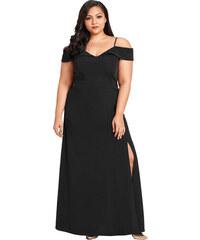 75d85bc176b NoName Dámské společenské šaty pro plnoštíhlé s odhalenými rameny černé XXL
