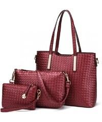 Lulu Bags Červený praktický lakovaný dámský kabelkový set 3v1 Kraniel 69fc51ddb5