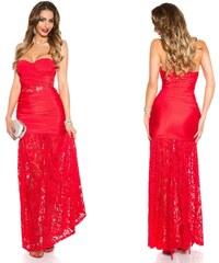 Dlouhé večerní bandeau šaty s krajkou Koucla červené 86d29389c0