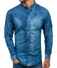 4224f4df88a8 Modrá pánska riflová košeľa s dlhými rukávmi BOLF 0540