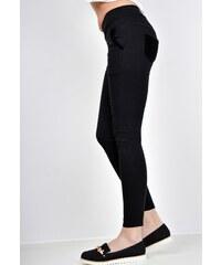 d3b4be23e6e BASIC Černé kalhoty s dekorativní kožešinkou na kapsách - 2232
