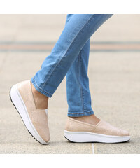 Lesara Chaussures slip-on aspect lurex avec plateau