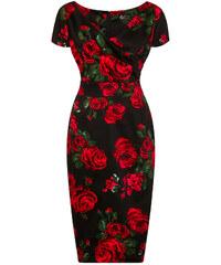 Černé pouzdrové šaty s růžemi Lady V London Ursula - a4c5059c30