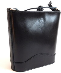 Vera pelle (Itálie) Malá kožená černá crossbody kabelka no. 178 5631572c88