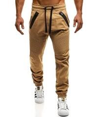 c9dad1aa5 Karamelové chinos jogger kalhoty OZONEE A/0952