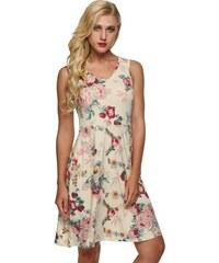 NoName - 01 Dámské letní šaty s květy béžové 959f9d93a1