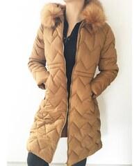NoName - Dámská zimní bunda dlouhá prošívaná zlatohnědá 6b5b8399f9a