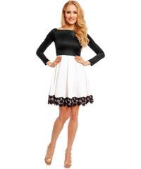 MAYAADI Dámské společenské šaty s dlouhým rukávem a skládanou sukní černo- bílé 0531e4e05b