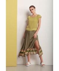8faf1bc444ab Deha zelená asymetrická sukňa s farebnými motívmi