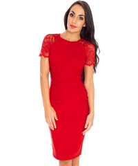 589b54f5f2fa Citygoddess GB Šaty červené s čipk.rukávmi midi