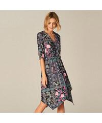 4d454f522ee Mohito - Šaty s různým potiskem a asymetrickou sukní - Černý
