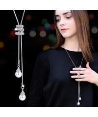 0403c1b18 B-TOP Dámsky dlhý náhrdelník S KAMIENKY A PERLAMI - strieborná