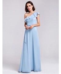 9978a2b43ae Ever-Pretty Světle modré šaty na jedno rameno s volánem