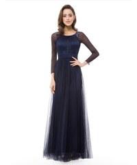 915ebd998f4 Ever-Pretty Večerní šaty s dlouhým rukávem v barvě noční modři