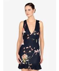 8d5d989d8ba2 Tmavomodré kvetované šaty s véčkovým výstrihom AX Paris
