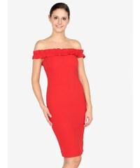 0b1bc998d91 Červené pouzdrové šaty s odhalenými rameny AX Paris
