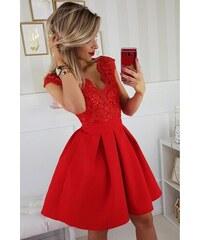Krátké společenské šaty s krajkou a pásečkem červené bebe2a5488