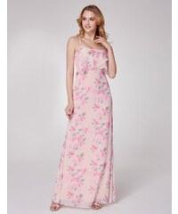 Ever-Pretty Bílé letní šaty s růžovými květy a vrstveným živůtkem b2a6a99d9c