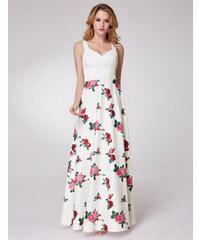 de8321865204 Ever-Pretty Bílé letní šaty s růžemi na dlouhé sukni