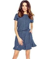 Bergamo Modré bodkované šaty Viki e0e14001db3