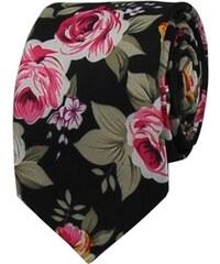 1126bdc8e29 Quentino Černá květovaná pánská bavlněná kravata