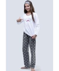 274dfe3cd139 GINA dětské pyžamo dlouhé dívčí 19059P - bílá šedá