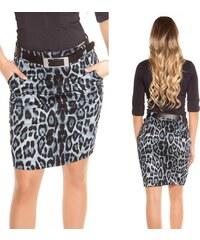 636de4ee8528 KouCla Dámská pouzdrová leopardí sukně s páskem šedá