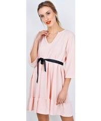 BASIC Růžové šaty s volánem - S3021 7075e7e952